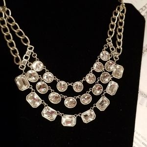 Necklace silver and rhinestones